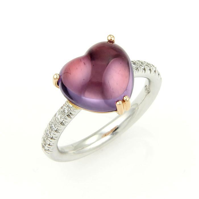 "Image of ""Mimi 18K Two Tone Gold Diamond & Amethyst Heart Cocktail Ring"""
