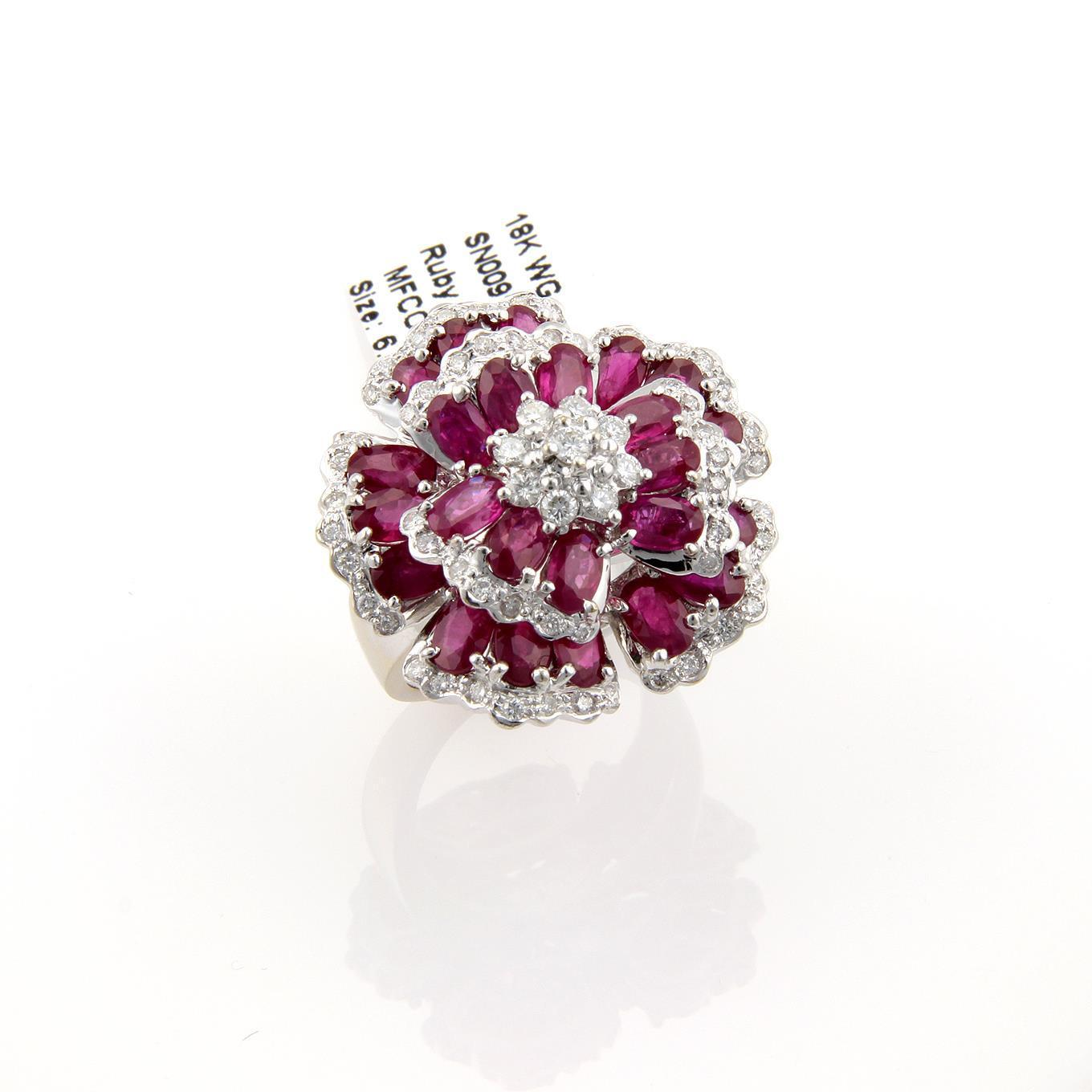 "Image of ""Ruby & Diamond Large 18K White Gold Flower Ring"""