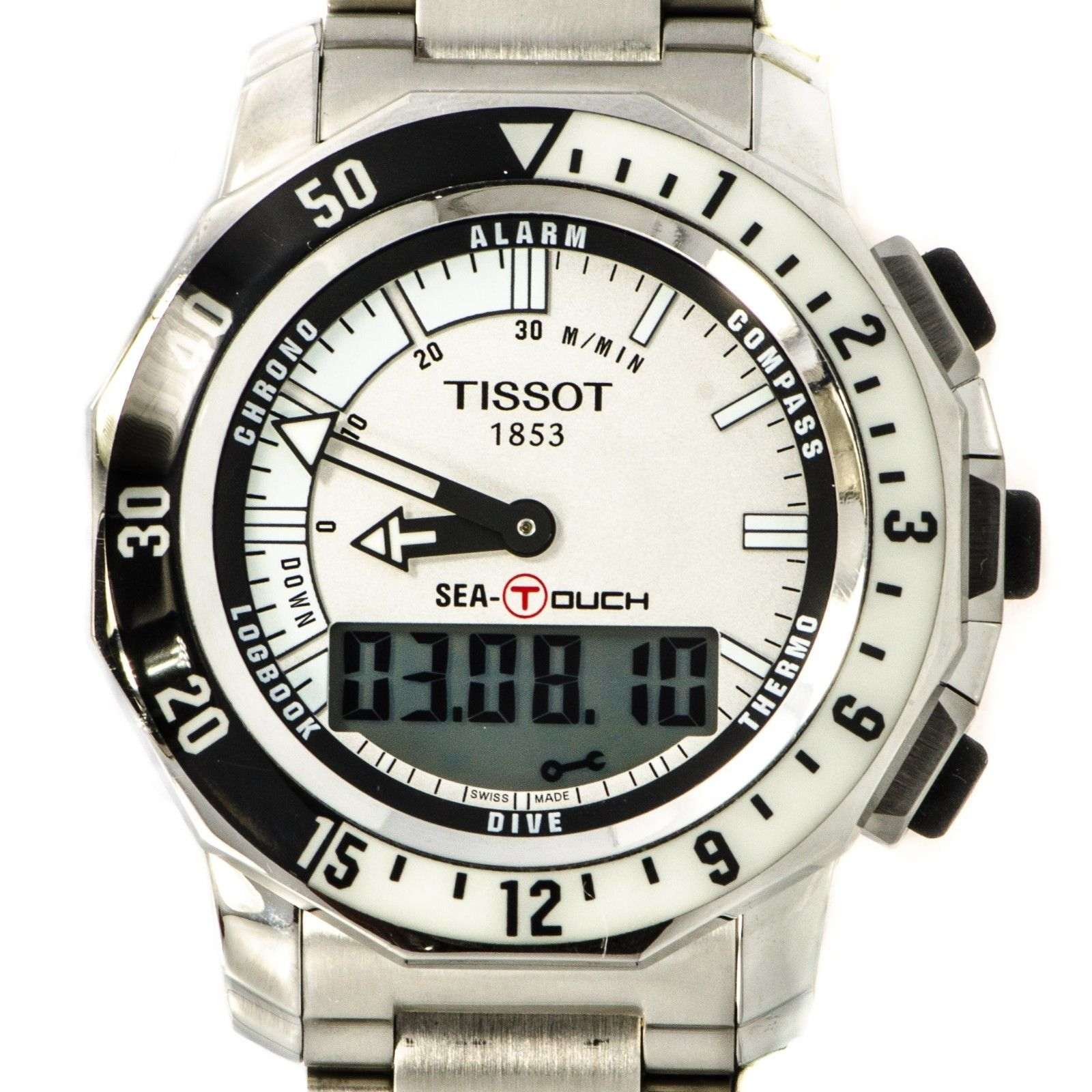 "Image of ""Tissot T026420A Stainless Steel White Dial Alarm Compass Digital Men's"""