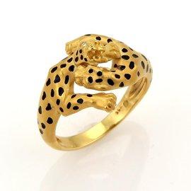 Carrera Y Carrera 18k Yellow Gold Double Panthers Diamonds & Enamel Ring