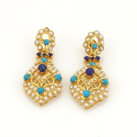 22K Gold Turquoise Lapis & Seed Pearls Mughal Drop Dangle Earrings