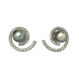 14K White Gold 1.30ct Diamond Swirl & Tahitian Pearl Earrings