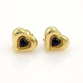 Van Cleef & Arpels 18k Yellow Gold VCA Black Agate Hearts Stud Earrings