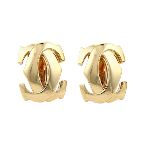 """Image of """"Cartier Signature Double C Logo 18k Yellow Gold Large Earrings"""""""