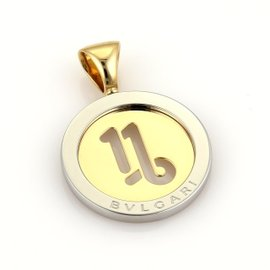 Bulgari 18K Yellow Gold & Stainless Steel Tondo Capricorn Round Pendant