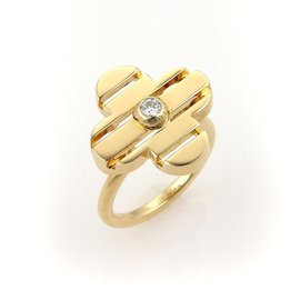 Louis Vuitton 18K Yellow Gold Floral Petite Fleur Diamond Ring