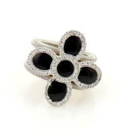 Roberto Coin 18K Two Tone Diamonds & Onyx Flower Cocktail Ring