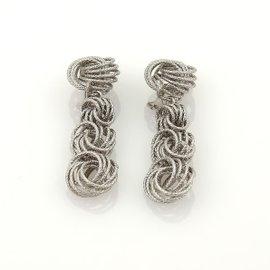 Gianmaria Buccellati 18K White Gold Knot Textured Drop Dangle Clip On Earrings