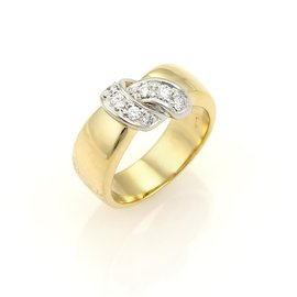 Pomellato 18K Two Tone Gold Diamonds Ribbon Wrap Band Ring