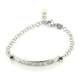 Pasquale Bruni AMORE ID Bar 18K White Gold Chain Link Bracelet