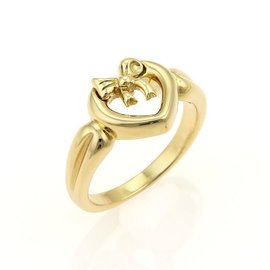 Tiffany & Co. Open Heart & Bow 18K Yellow Gold Ring
