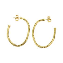 David Yurman 18K Yellow Gold Long Cable Style Oval Semi Hoop Earrings