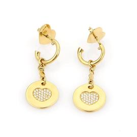 Pasquale Bruni 18K Yellow Gold Amore Diamond Hearts Disc Earring