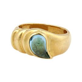 Chopard 18K Yellow Gold Blue Topaz Teardrop Ring