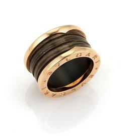 Bvlgari B.Zero1 18K Rose Gold and Brown Marble Band Ring Size EU 53