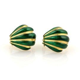 Tiffany & Co. 18K Yellow Gold Schlumberger Green Enamel Earrings