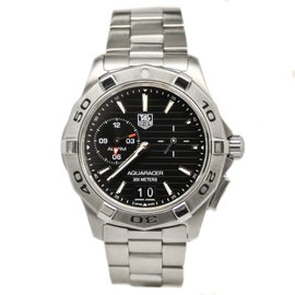 Tag Heuer Aquaracer WAP111Z.BA0831 Stainless Black Dial Quartz Alarm Men's Watch