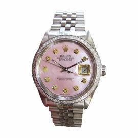 Rolex Datejust Pink Mop Diamond Stainless Steel Mens Watch