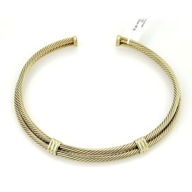 David Yurman 14K Yellow Gold Classic Double Cable Wire Choker Necklace