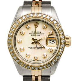Rolex Datejust 6916 Two-Tone 18K Mother Of Pearl Dial CZ Bezel Automatic Womens Watch
