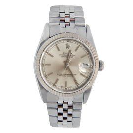 Rolex Midsize Datejust Steel Silver Stick Dial 68274 Womens Watch