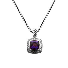 David Yurman Sterling Silver Amethyst Diamond Pendant Necklace