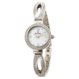 Bulova 96L115 Mother Of Pearl Dial Swarovski Crystal Bangle Bracelet Womens Watch