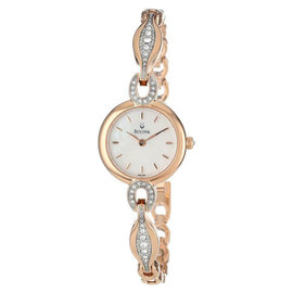 Bulova 98L164 Rose-Gold Crystal Bangle Womens Watch