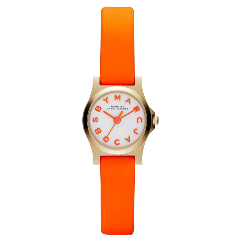 "Image of ""Marc by Marc Jacobs Mbm1236 Orange Leather Strap Womens Watch"""