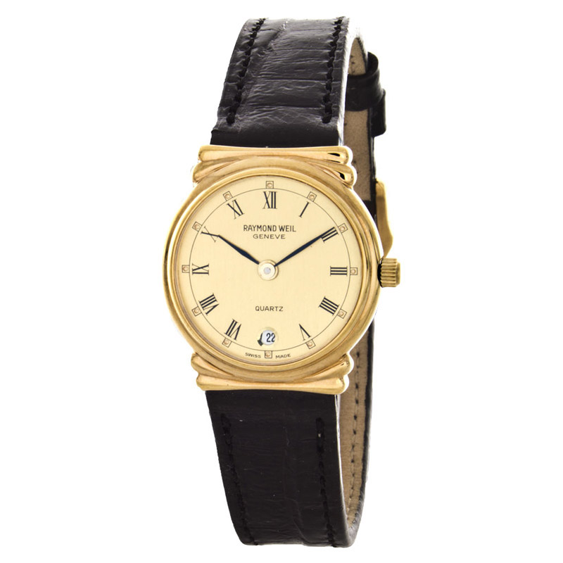 """Image of """"Raymond Weil 5318-Ch Gold Tone Stainless Steel and Leather 23mm Watch"""""""
