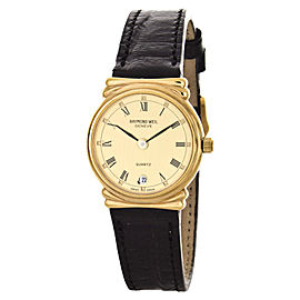 Raymond Weil 5318-CH Gold Tone Stainless Steel and Leather 23mm Watch