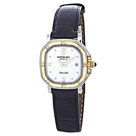 Raymond Weil 9889G-IV Parsifal White Dial Dark Blue Leather Band Watch