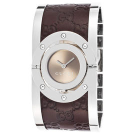 Gucci YA112433 Brown Dial Stainless Steel and Leather Bracelet Womens Watch