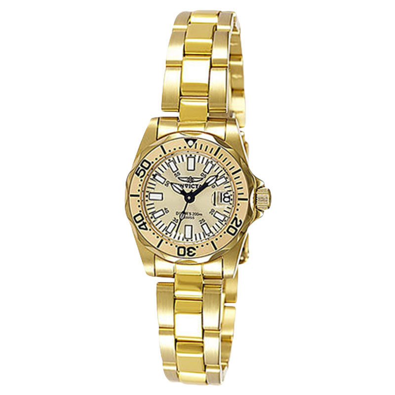 """Image of """"Invicta 7065 Gold Dial Gold Tone Stainless Steel Women's Watch"""""""