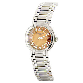 Raymond Weil Elegant Brown Textured Dial Stainless Steel Bracelet Watch