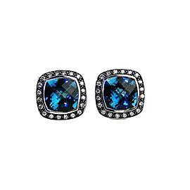 David Yurman Albion Sterling Silver Blue Topaz & 0.52ct Diamond Earrings