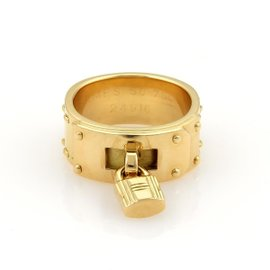 Hermes Kelly Bag 18K Yellow Gold Lock Charm Band Ring