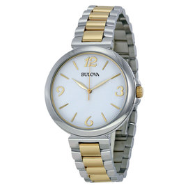 Bulova 98L194 Sport White Dial Two Tone Stainless Womens Watch