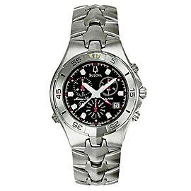 Bulova Marine Star 96C18 Black Dial Stainless Steel Bracelet Mens Watch