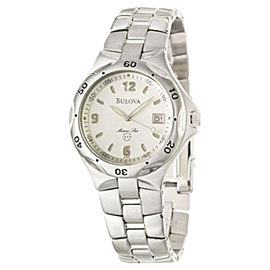 Bulova Marine Star 96B55 Silver Dial Stainless Steel Mens Watch