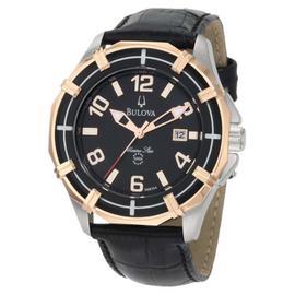 Bulova Solano Marine Star 98B154 Leather Strap Mens Watch