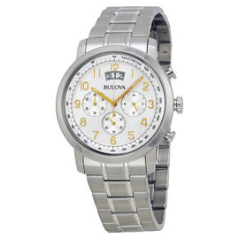 Bulova 96B201 Dress Silver Dial Stainless Steel Chronograph Mens Watch