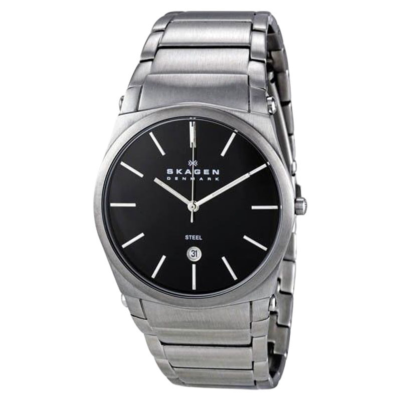 "Image of ""Skagen 859Lsxb Steel Black Dial Stainless Steel Quartz Watch"""