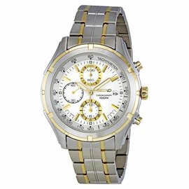 Seiko SNDC38 Stainless Steel Chronograph Mens Watch