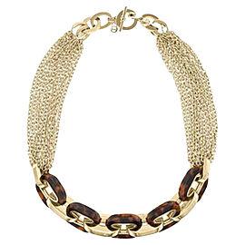 Michael Kors Gold Tone & Tortoise Chain Hook Lock Necklace
