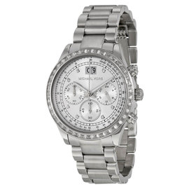 Michael Kors MK6186 Brinkley Silver Dial Stainless Chronograph Women's Watch