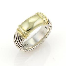 David Yurman 14K Gold & Sterling Silver Cable Band Ring
