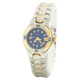 Bulova 98U10 Blue Dial Two-Tone Stainless Steel Bracelet Quartz Womens Watch