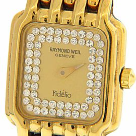 Raymond Weil 3723 Gold Tone and Crystal Accented Rectangle Dial 17mm Watch