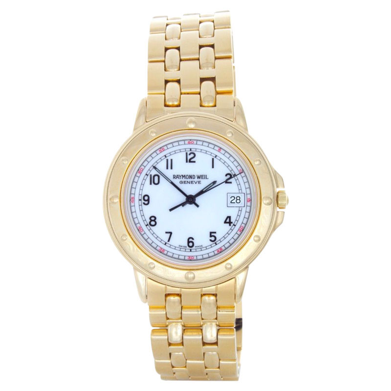 """Image of """"Raymond Weil 5560 Elegant White Date Dial Gold-Tone Stainless Steel"""""""